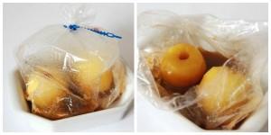 Pommes dans le sac après cuisson