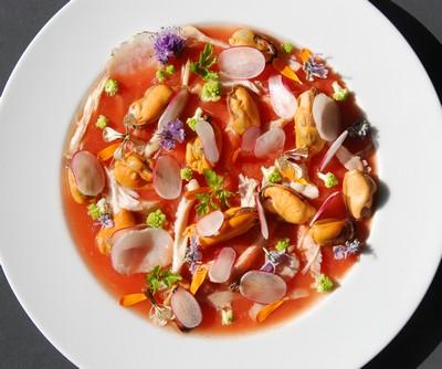 Effilochée de lapin, gelée tomates, moules 6