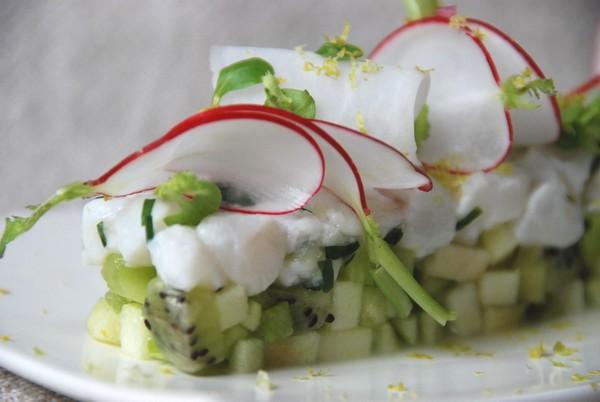 Tartare de cabillaud, pomme Granny, kiwi et citron vert | Cuisine plurielle